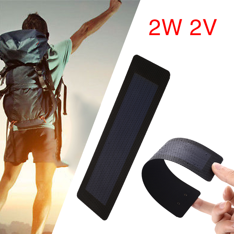 2W 2V Flexible Film Solar Panel Waterproof Outdoor Portable Durable Travel Charging Camping Solar Generator Solar Charger Pane in Solar Cells from Consumer Electronics