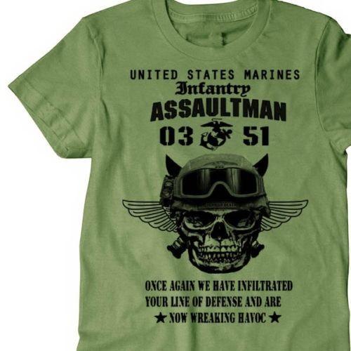 UNS Marines Infanterie Assaultman t-shirt männer MOS 0351 USMC armee kurzarm casual tee USA plus größe S-3XL