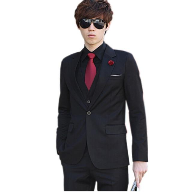 (Jacket+Pant) Luxury Men Wedding Suit Male Blazers Slim Fit Suits For Men Costume Business Formal Party Blue Classic Black
