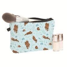 Сумка для макияжа с 3D-принтом в виде милых мультяшных ленивцев из серии Otter, косметический чехол, Сумка Для Хранения Туалетных принадлежностей для путешествий, 1 шт