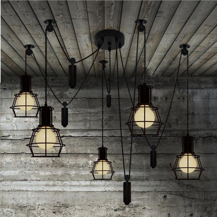 Free Shipping Vintage Chandeliers 5 Lights Up And Down W Counterweight Black Dinning Living Foryer Room Light Industrial Retro In From