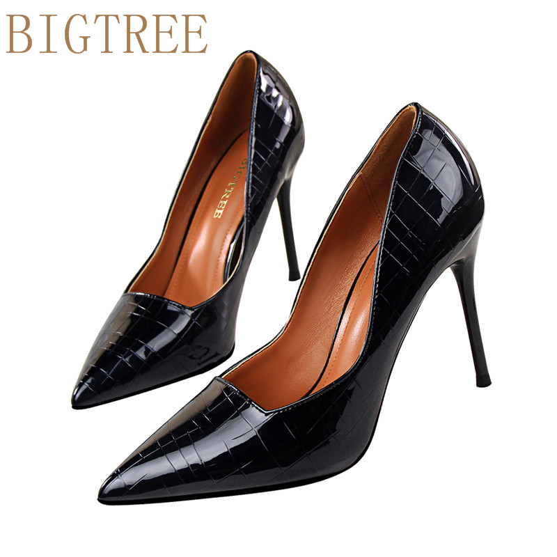 BIGTREE New Fashion Women Pumps Thin High Hee Women Shoes  Stone pattern Toes Spring  Sweet  High Heels  Pink Black White gold