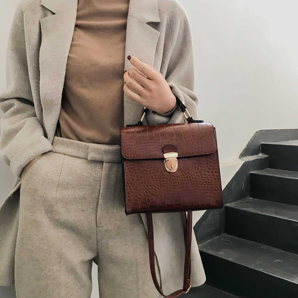 2019 New Fashion Small Handbag Solid Brown Cartera Mujer Monedero Women Vintage Crocodile Pattern Bag Wild Shoulder Bag Messenge