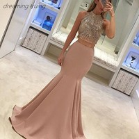 2/Two Piece Beading Crystal Prom Dresses Long Mermaid Off Shoulder High Neck Sparkling Evening Gown Vestido De Formatura 2019