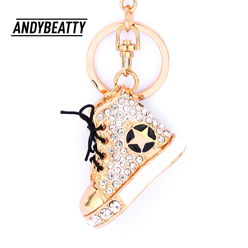 ANDY BEATTY Shoes Key Chains Rings Holder Crystal Rhinestone Purse Bag Buckle Pendant Keyrings KeyChains