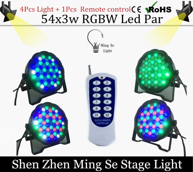 ФОТО 4Pcs/lots  54X3W RGBW LED Par Light LED PAR DMX512 controller led lights with  Remote control disco lights DJ equipment
