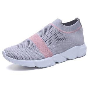 Image 5 - Kadınlar vulkanize ayakkabı moda ayakkabı üzerinde kayma çorap ayakkabı yaz kadın örme eğitmenler bayan rahat ayakkabılar Tenis Feminino