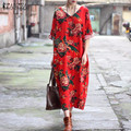 ZANZEA Women Dresses 2017 Ladies Vintage Floral Print Long Maxi Dress V Neck Pockets Casual Loose Robe Veatidos Plus Size S-5XL