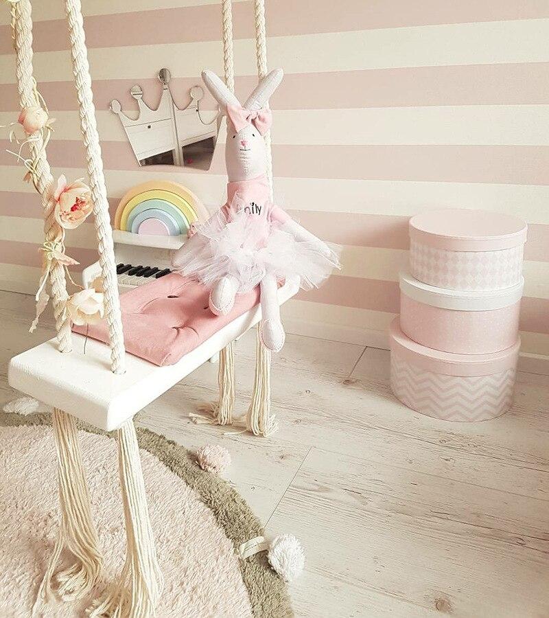 Bébé balançoire chaise avec coussin siège enfants intérieur en bois massif jouet balançoires garçons princesse filles enfants chambre décor meubles