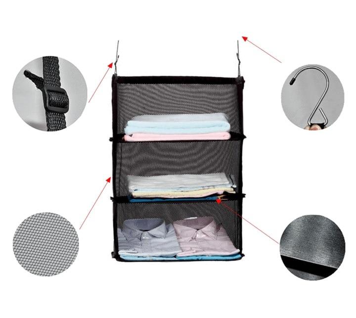 Dropshipping New 3 Layer Travel Wardrobe Bag Suitcase Shelves Trave Storage Bag Multi-function Storage Black Bag Hanging Hooks