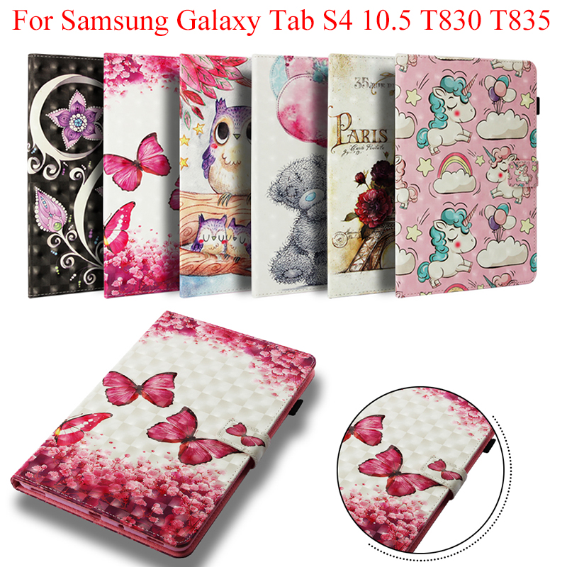 Case For Samsung Galaxy Tab S4 10.5 Smart Cover Fundas For Galaxy Tab S4 10.5 SM-T830 T835 Auto Wake Up/Sleep Owl Unicorn Tower
