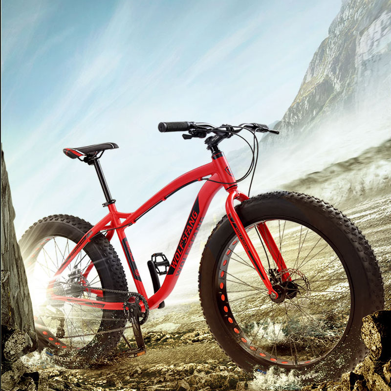 Wolf s fang new Bicycle Mountain bike 26 inch Fat Bike 8 speeds Fat Tire Snow Wolf's fang new Bicycle Mountain bike 26 inch Fat Bike 8 speeds Fat Tire Snow Bicycles Man bmx mtb road bikes free shipping