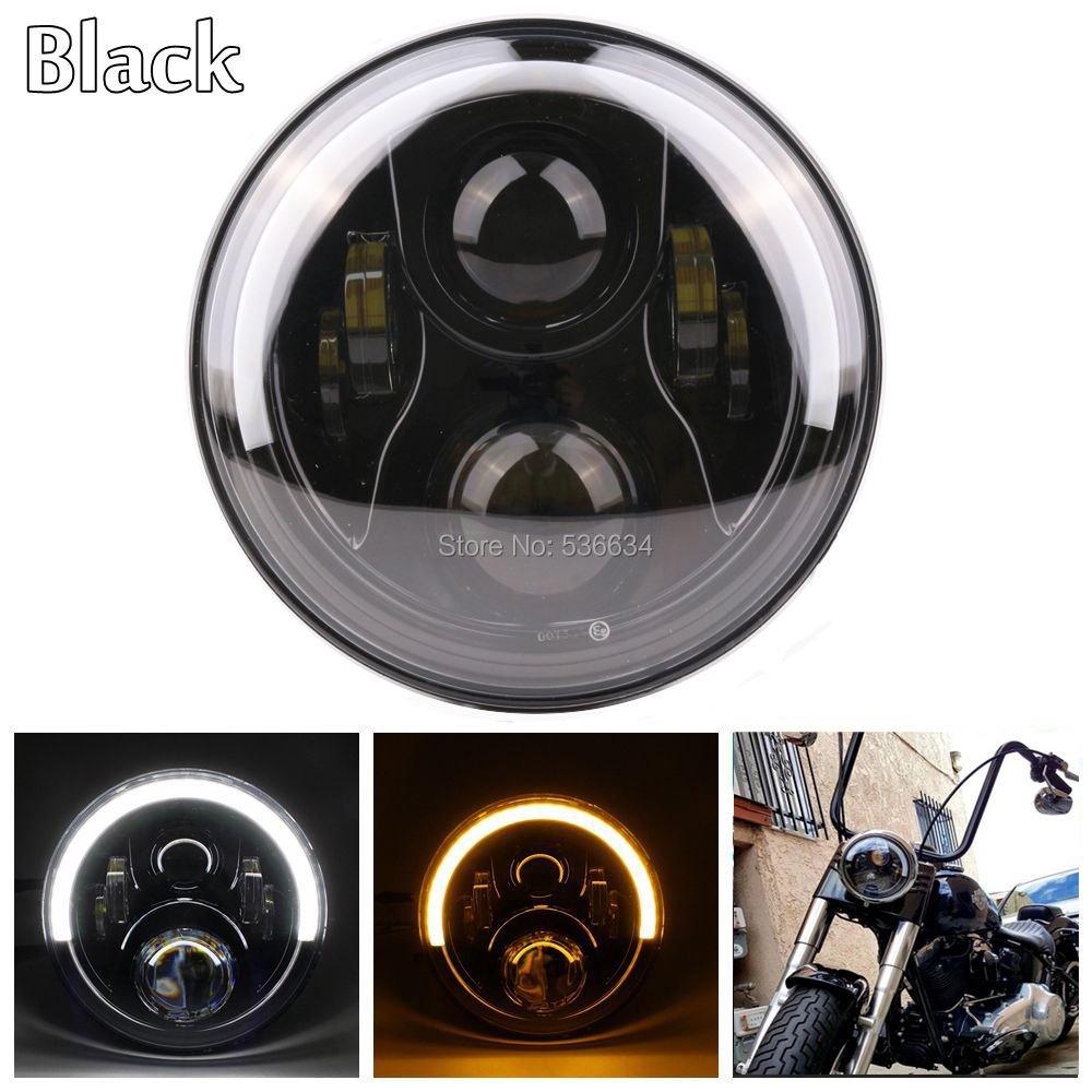 1PCS 30W/60W Black housing White-Amber ring color  7 headlight daymaker Projector headlamp for Harley Davidson Softail Slim mp620 mp622 mp625 projector color wheel mp620 mp622 mp625