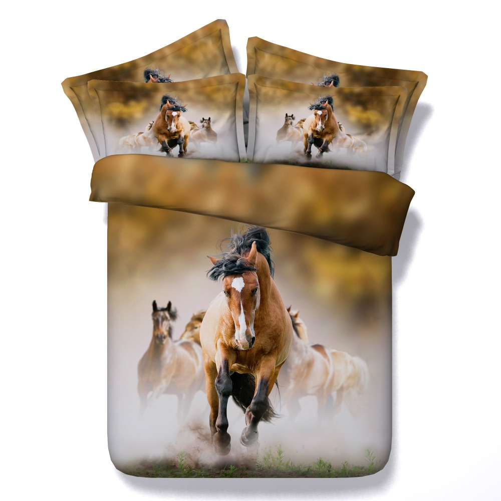 Superb Brown Horse Bedding Sets Cal King Queen Twin Full Size 3d Animals Painting  Duvet Cover 3
