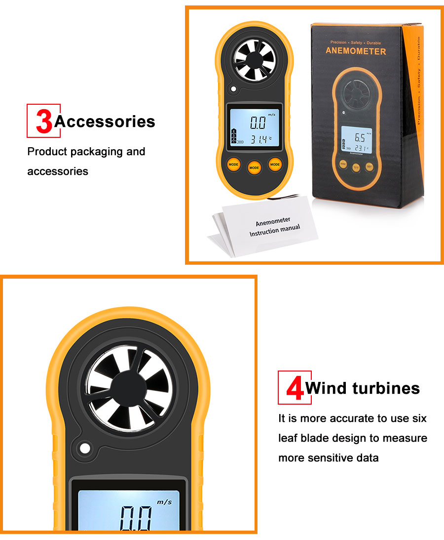 Portable RZ GM816 Wind Speed Meter Used as Anemometer with LCD Display Useful for Windsurfing 11