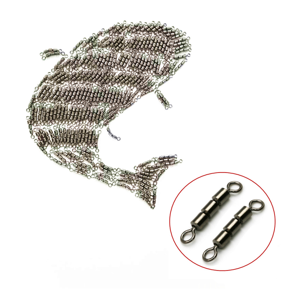 100pcs/lot High Speed Strength Fishing Triple Rolling Swivel Barrel Connector 8 Sizes Professional  Fishing Tackle Accessories