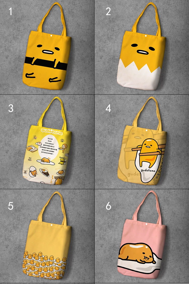 Gudetama Cartoon Student Printed Canvas Recy Shopping Bag Large Capacity Customize Tote Fashion Ladies Casual Shoulder Bags