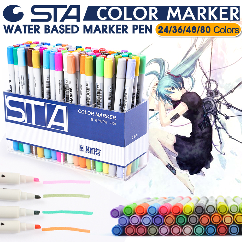 STA 24 36 48 80 Colors Double Head Water Colored Marker Pen Set For School Note Design Drawing Office School Art Supplies sta 24 colors marker pen water soluble colored sketch marker brush pen set for drawing design art paints
