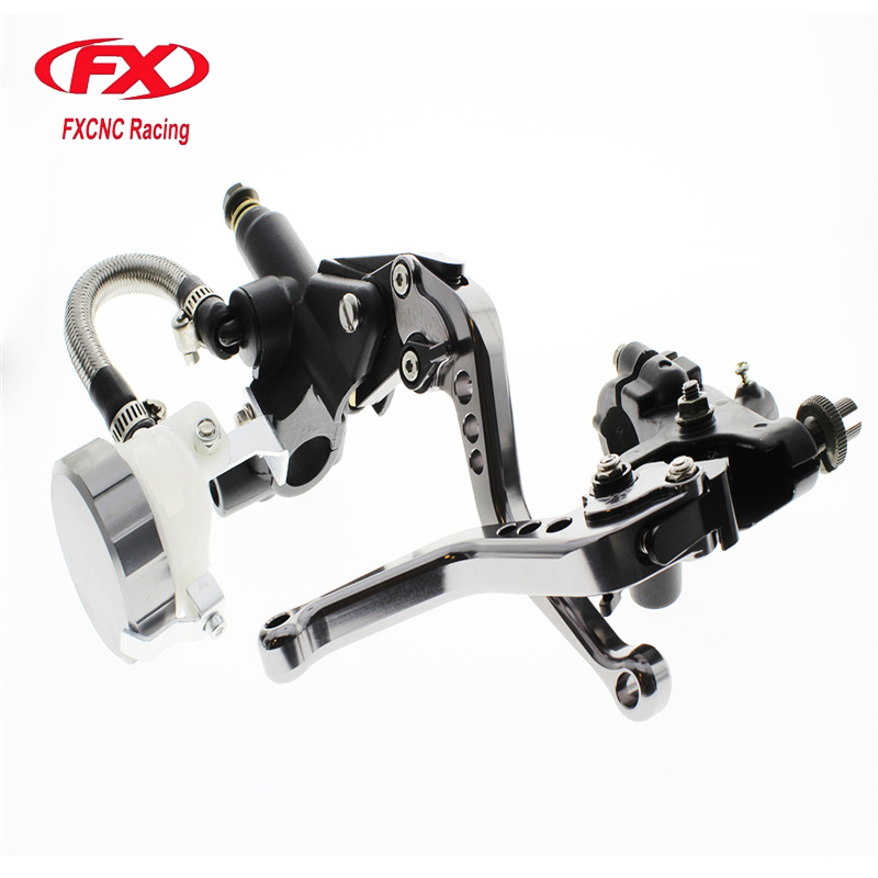 FX CNC 22mm Universal Adjustable Hydraulic Brake Cable Clutch Levers Master Cylinder Reservoir Set For KAWASAKI NINJA 250R cobra ru 935ct