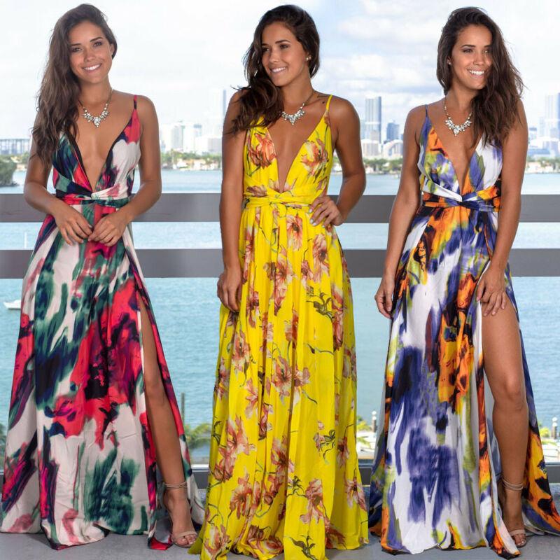 Women's Sling Floral Long Dresses arrival Summer Boho V-Neck Sleeveless Evening Party Beach Maxi Dress Casual Sundress 1