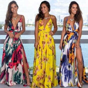 Женское длинное платье на бретельках с цветочным принтом, летнее платье макси в стиле бохо с v-образным вырезом, повседневный сарафан 2