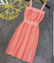 high quality 2016 summer new runway dress ladies sleeveless sexy knitting pink dress