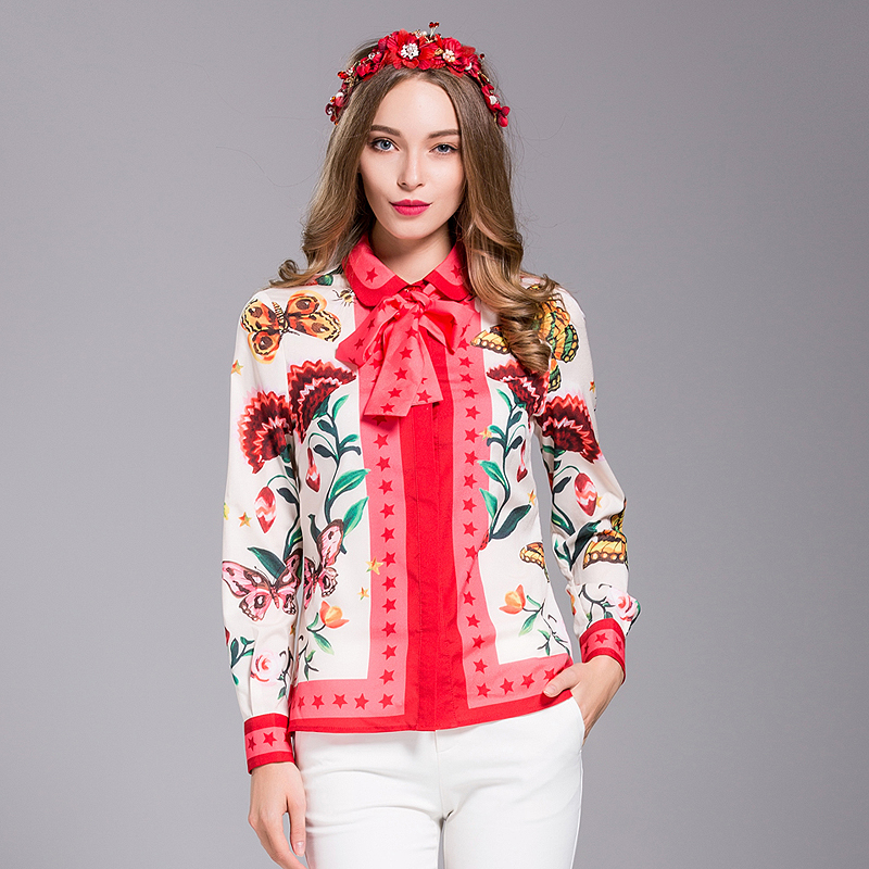 Milan New Runway High Quality 2018 Spring WomenS Party Office Work Print Flowers Shirt Fashion Long Sleeve Top Plus Size Blouse