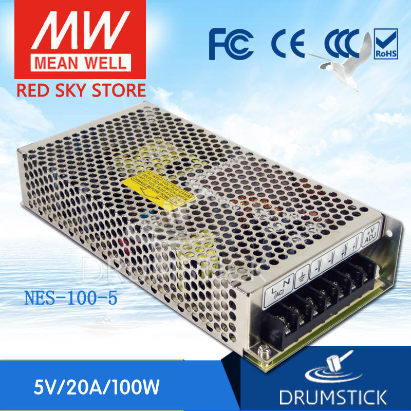 ФОТО Redsky [free-delivery 2Pcs] MEAN WELL original NES-100-5 5V 20A meanwell NES-100 100W Single Output Switching Power Supply