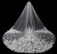 Luxury 5m Ivory White One Layer Tulle Handmade Flowers Cathedral Wedding Veil Long Bridal Veil Wedding Accessories 2018 In Stock