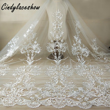 1 Yard 120cm Wide Lace Fabric White DIY Exquisite Lace Embroidery Clothes Wedding Dress Accessories Bridal Gown Sewing Materials 110cm wide wedding dress lace embroidery diy women clothes materials clothing fabric accessories ivory white church happy hour