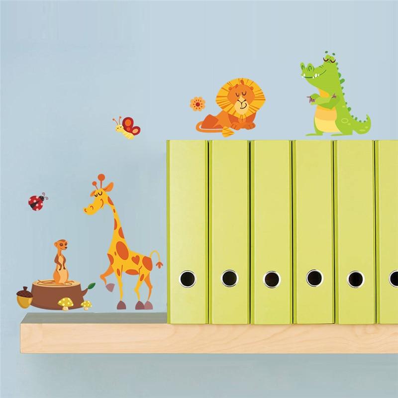 Jungle animals safari wall stickers for kids room for Zoo bathroom decor