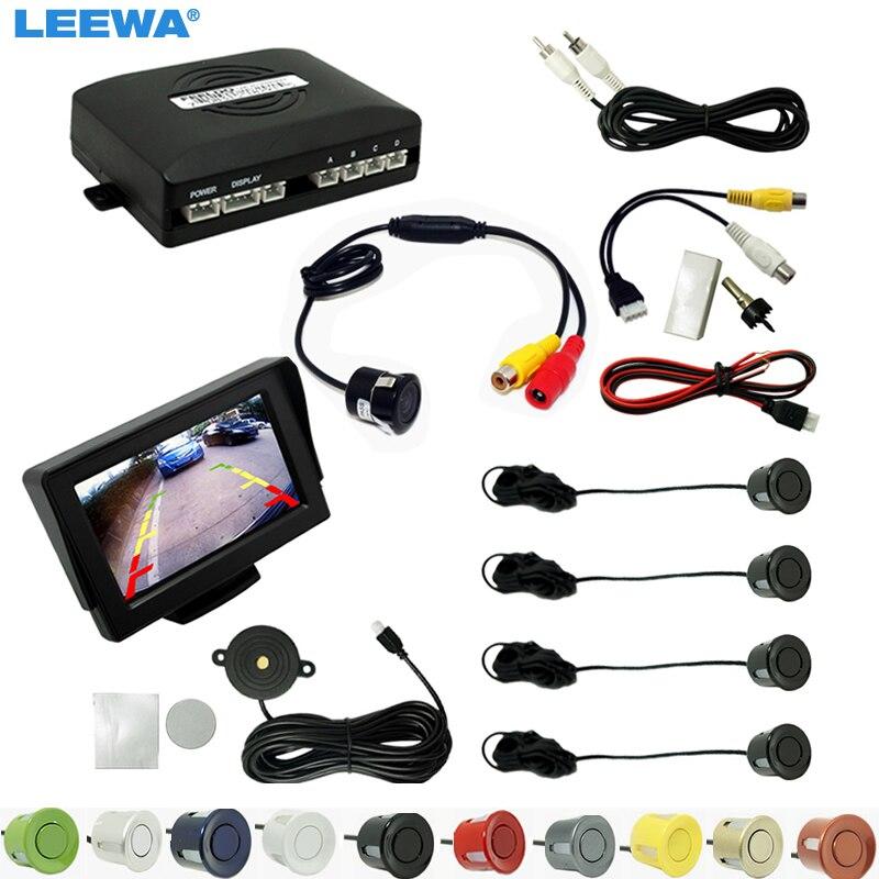 LEEWA Car 4.3 LCD Monitor 4-sensor Parking Sensor 18.5mm Snap Ring Camera Reversing Rearview Parking System #CA944