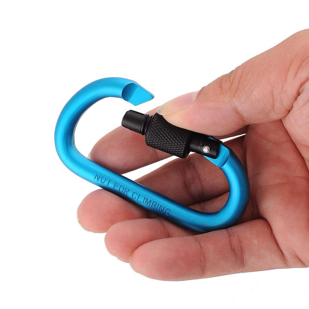 Useful Climbing Buckle Keychain Aluminum Carabiner D-Ring Locking Key Clip Hook Snap Outdoor Sport Security Camping