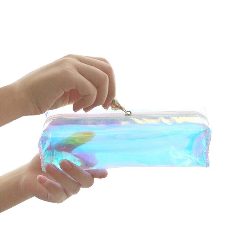 все цены на Creative Kawaii Cool Laser Transparent Silica Gel PVC Plastic Water Proof School Pencil Bag Tassels Pen Case Coin Purse онлайн