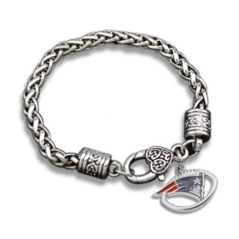 Zinc Alloy Rhodium Plated Thick Chain Football Sports Team Logo Enamel New England Patriots Bracelet In Link Bracelets From Jewelry Accessories On