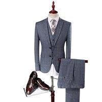 MarKyi 2017 Mannen Light Grey Trouwpak Bruidegom Tuxedos Beste Pakken voor Mannelijke 3 Stks (jas + Broek + Vest + Tie) Formele Mannen Pak Set
