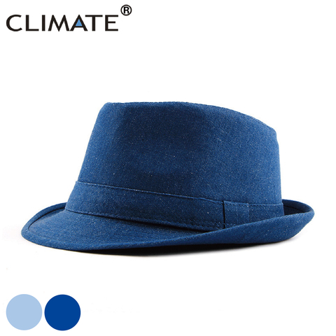 CLIMATE Men Denim Fedora Jazz Hat Jeans Wear Hats for Man Men Solid Warm Fedoras Cap Cool Denim Jeans Cap Hat Fedora for Men Hat Pakistan