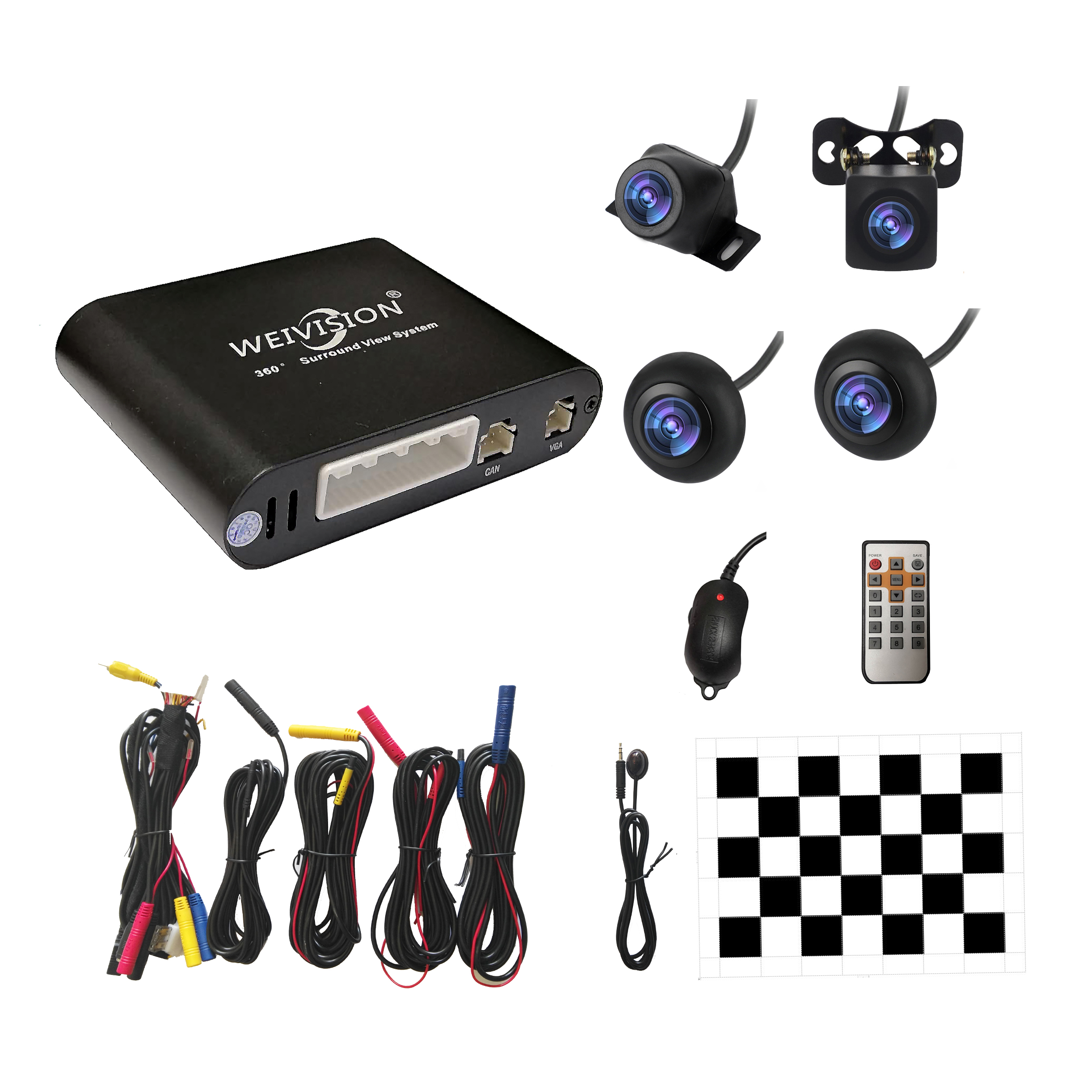 WEIVISION 360 graden naadloze Bird View Panorama-systeem, All Round View-systeem, rond Parking Car DVR opname, cadeau 8G U disk