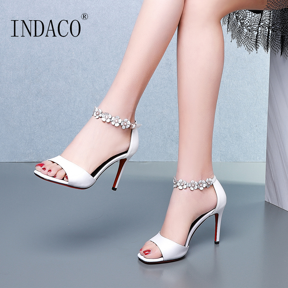 Sandals Women Leather Summer Shoes High Heels Sandals Women Ankle Strap Pink 9cm