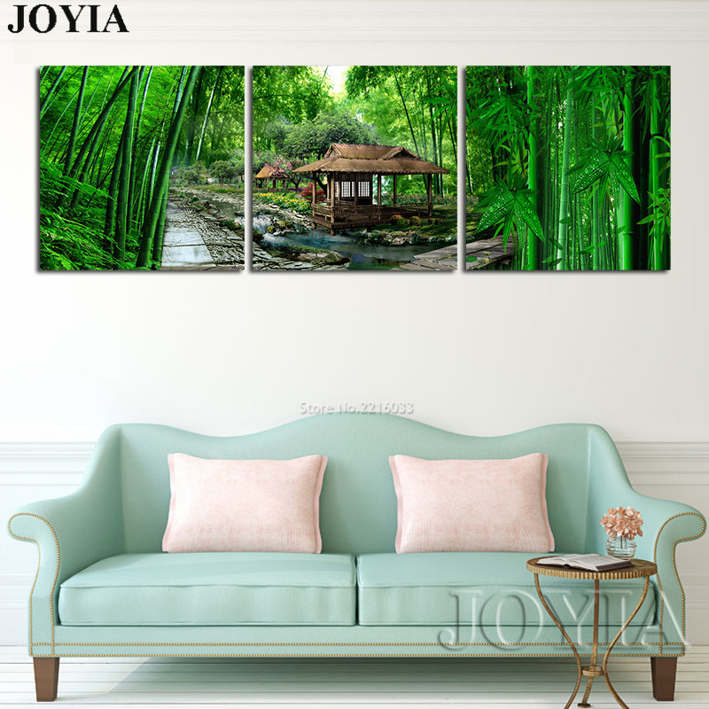 3 Piece Home Paintings Green Bamboo Painting On Canvas Prints Landscape Scenery Feng Shui Art Picture (No Frame)