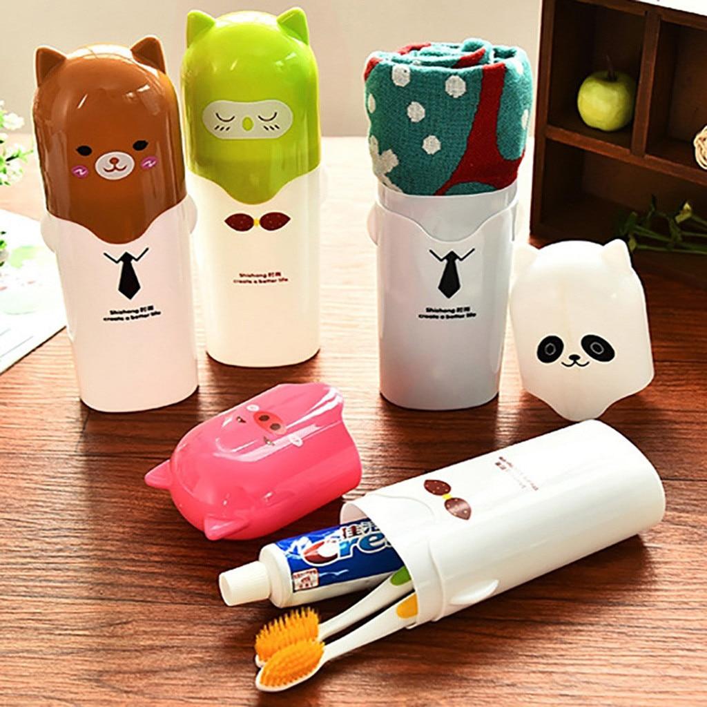 Plastic Cute Cartoon Toothbrush Case Children Travel Portable Toothbrush Storage Box Washing Cup Toothbrush Holder 4 Styles HOT