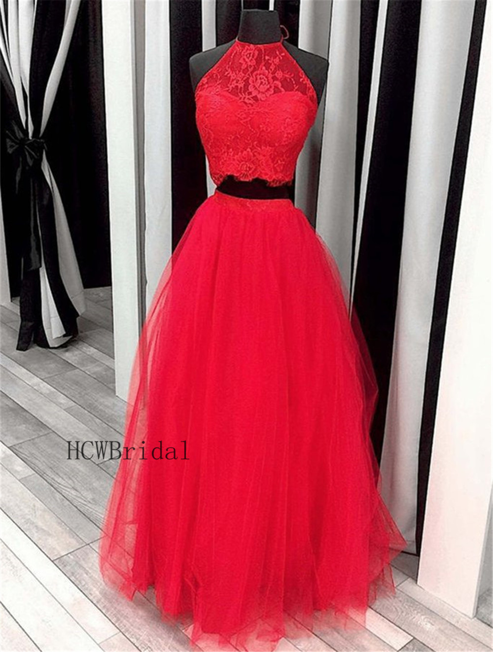 Red 2 Piece Prom Dresses Halter Backless A Line Lace Tulle Charming Evening Gown Long 2019 High Quality Women Party Dress Cheap