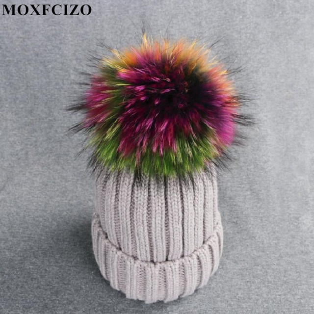 b7fd5e7fcf9 2017 Big Real Fur Winter Hat Raccoon Pom Pom Hat For Women Brand Thick  Women Hat Girls Caps Knitted Beanies Women Cap Wholesale