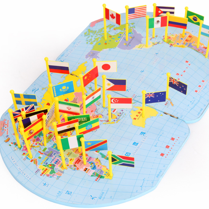 Flag recognition flag 7 year old wooden puzzle geography learning flag recognition flag 7 year old wooden puzzle geography learning aids world map toys three dimensional map of 5 in puzzles from toys hobbies on gumiabroncs Images