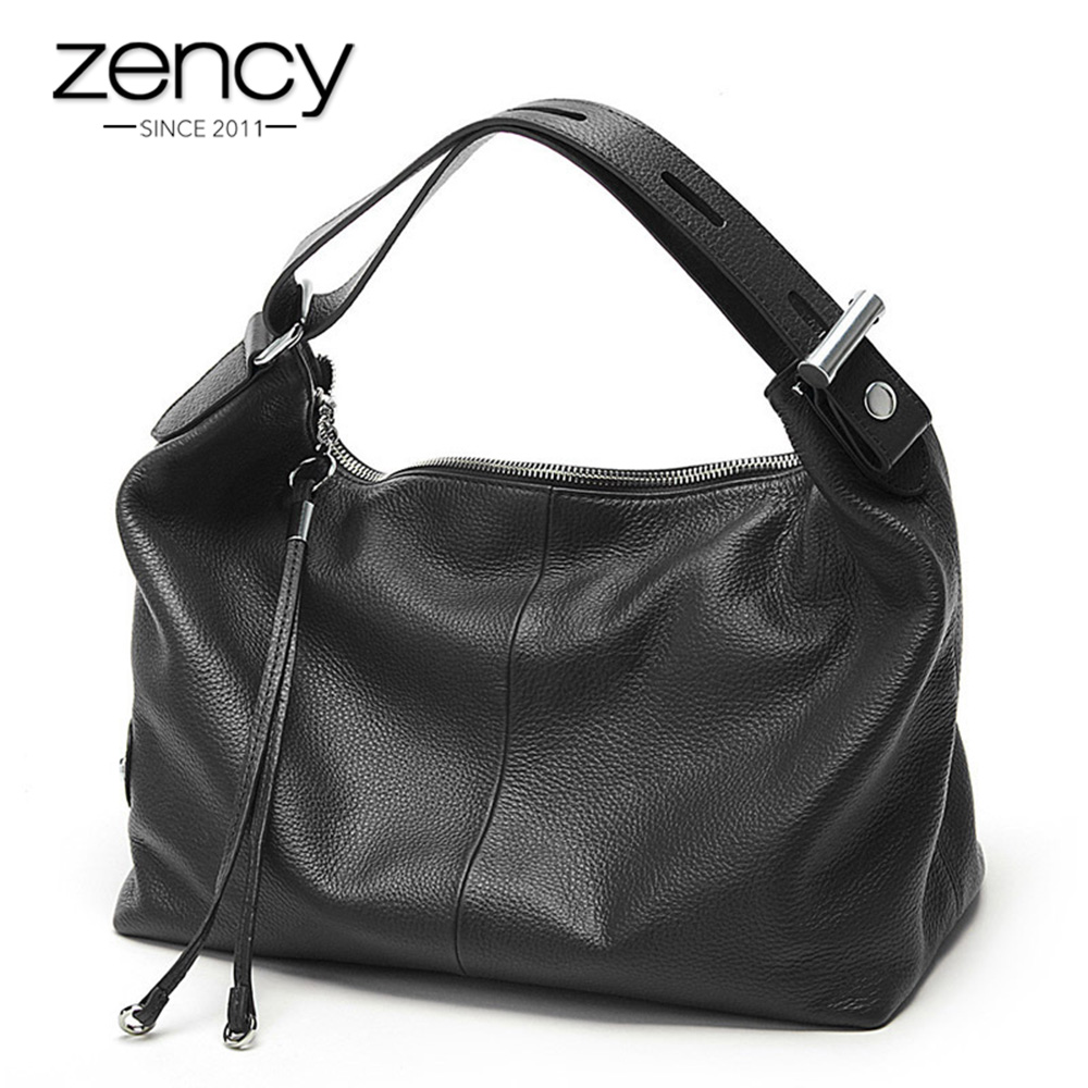 Zency 100% Genuine Leather OL Style Women Tote Bag Fashion Lady Shoulder Bags Classic Handbag Satchel Crossbody Messenger Purse women shoulder bag top quality handbag new fashion hot lady leather purse satchel tote bolsa de ombro beige gift 17june30