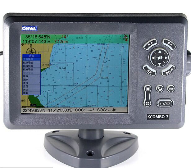 7-inch LCD GPS chartplotter and  fishfinder with internal GPS antenna  onwa kcombo7 ultra thin 7 touch screen lcd wince 6 0 gps navigator w fm internal 4gb america map light blue