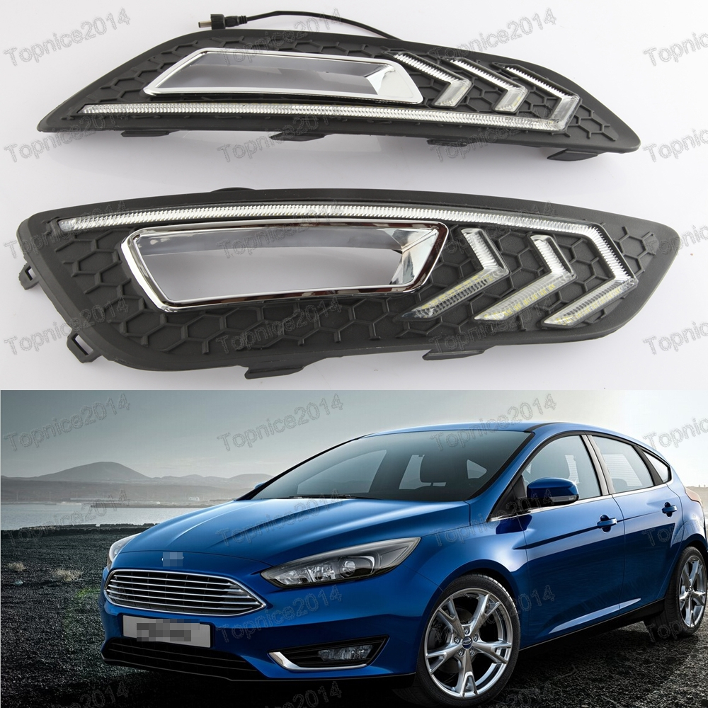 1Pair White LED DRL Daytime Running Lights Lamps With Fog Lamp Covers for Ford Focus 2015