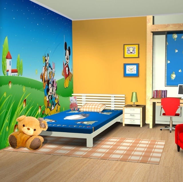 clipart bedroom cartoon background mickey children rooms mouse child wall clip murals decorating living factory borders zoom material comfortable bed