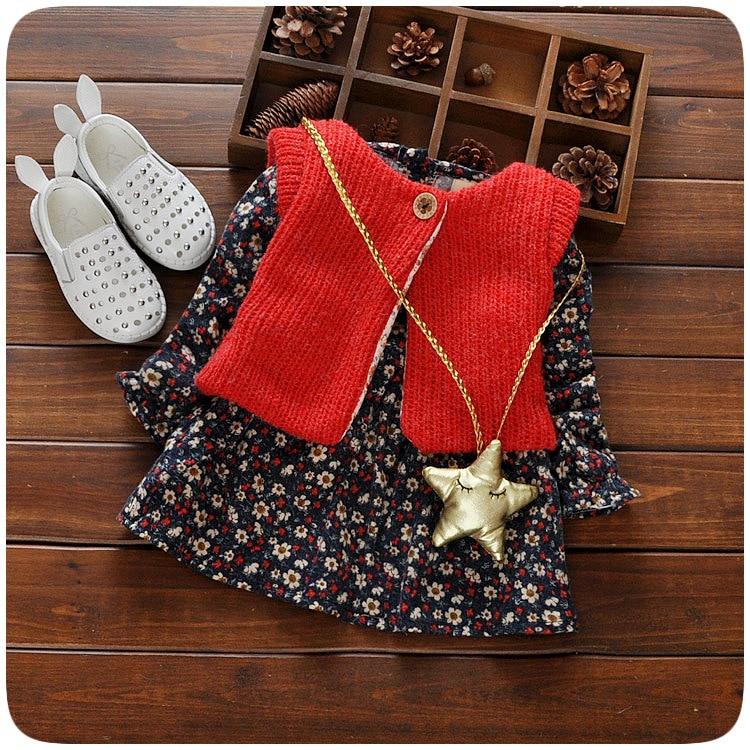 2016 children dress baby girls autumn winter little flower printed long-sleeved kids princess + vest coat set