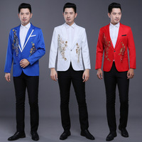 free shipping 2016 Chinese style men dance Chorus costume Tuxedo Suit slim embroidery master host stage Sequins 2 piece set suit